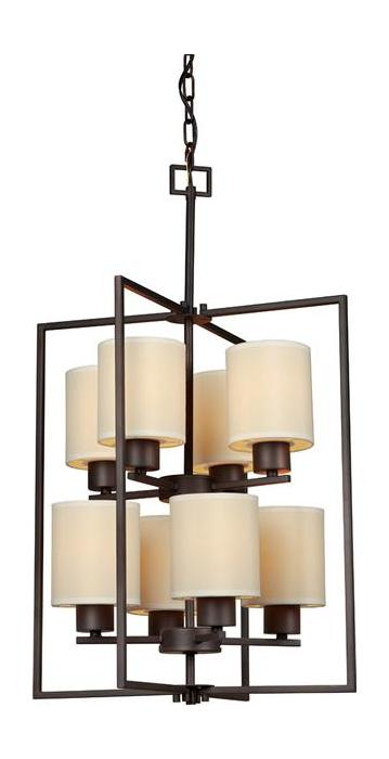 Open Frame Foyer Light : Forte eight light antique bronze creamcolored fabric shade