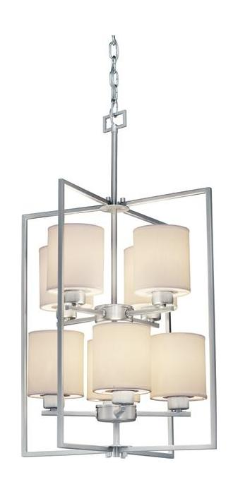 Open Frame Foyer Light : Forte eight light brushed nickel white color fabric shade