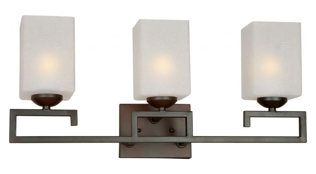 Square Glass Vanity Light : Forte Three Light Antique Bronze Square White Linen Glass Vanity Antique Bronze 5141-03-32