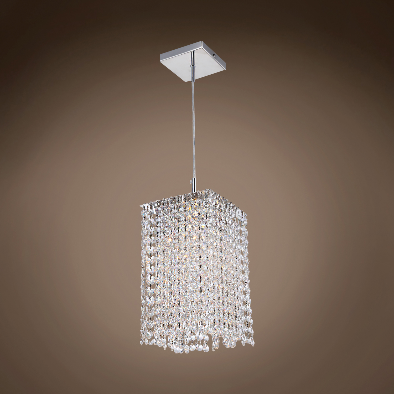light square shape crystal mini pendant light in chrome finish with