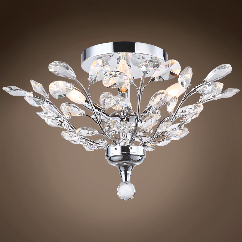 4 light crystal ceiling flush mount light in chrome finish for Crystal ceiling lights flush mount