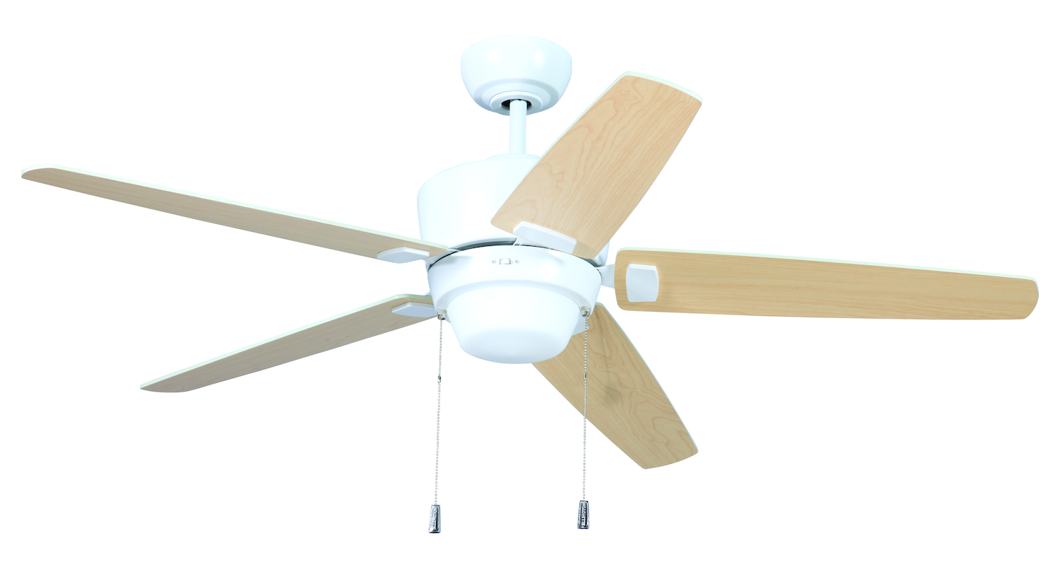 craftmade white ceiling fan with blades light kit white