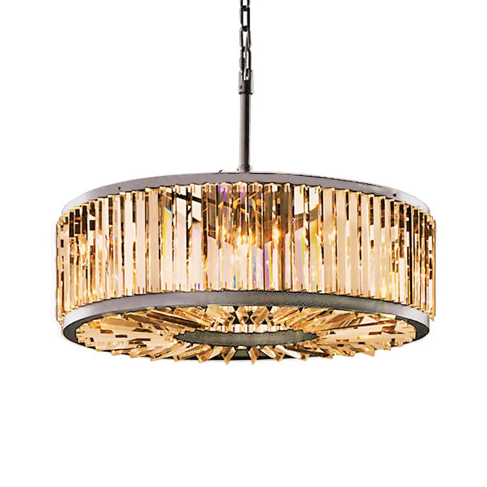 Restoration Revolution Welles 10 Light Golden Teak Crystal