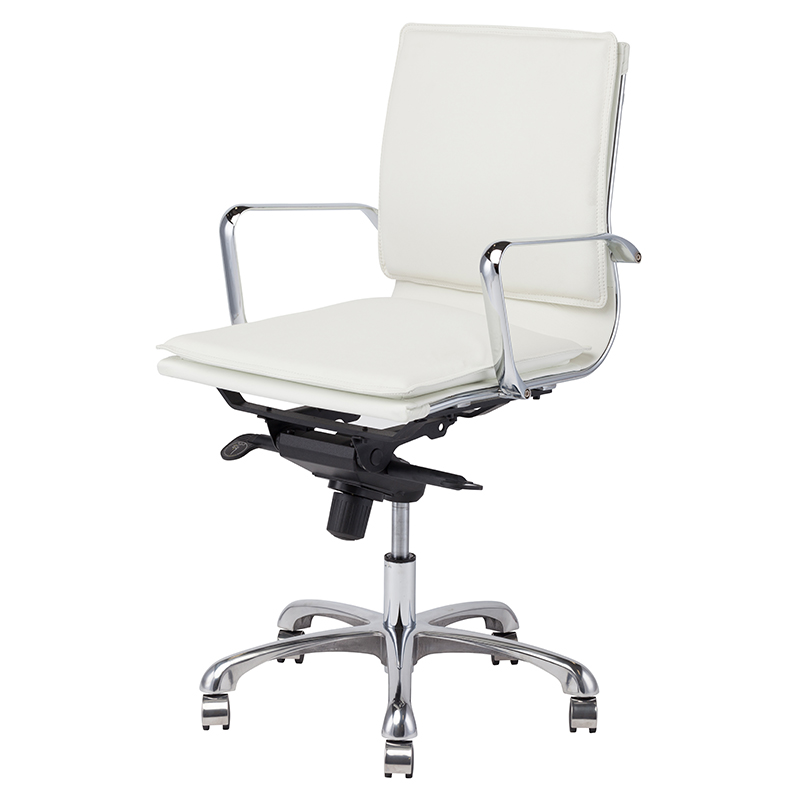 Nuevo White Armchair Leather Carlo Office Chair HGJL329