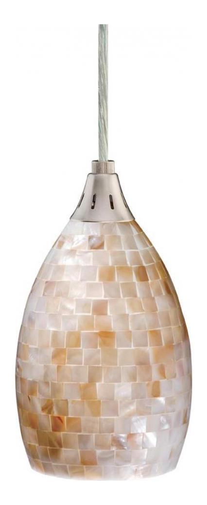 Vaxcel International Milano Mini Pendant Mosaic Shell Glass Satin Nickel Pd53206sn From Milano