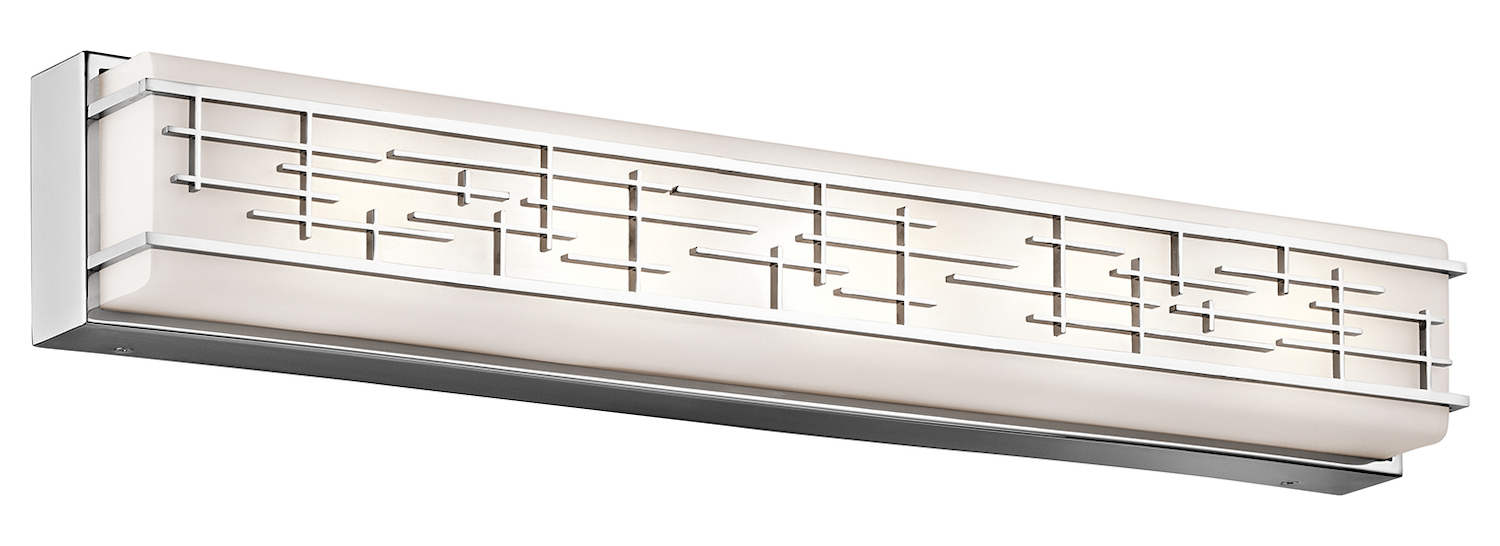Kichler 1 Light 30 Wide Led Ada Compliant Bathroom Fixture With Frosted Glass Shade Chrome
