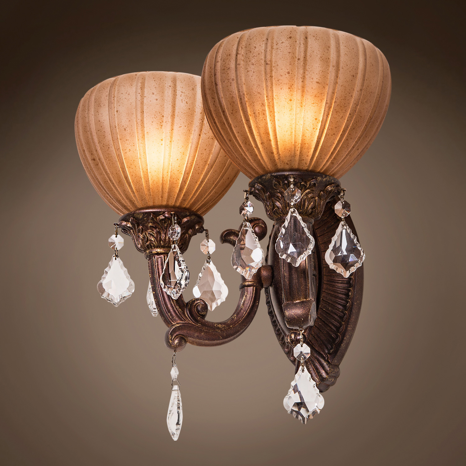 Aged Bronze Wall Sconces : Joshua Marshal 700794-001 Monaco 2 Light 15