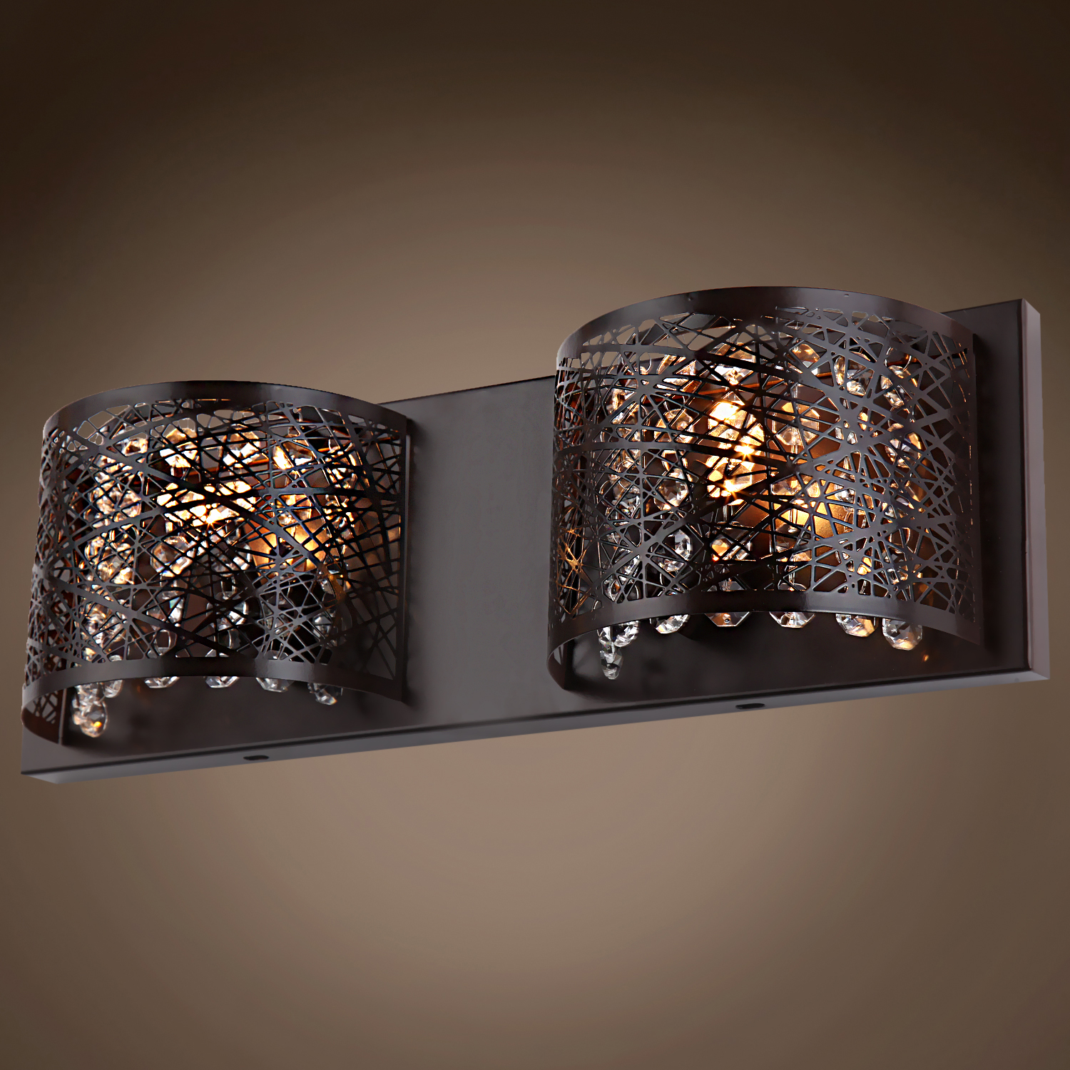 Joshua Marshal 700855-001 Lazer 2 Light Bronze Sconce with Clear European Crystal From Lazer ...