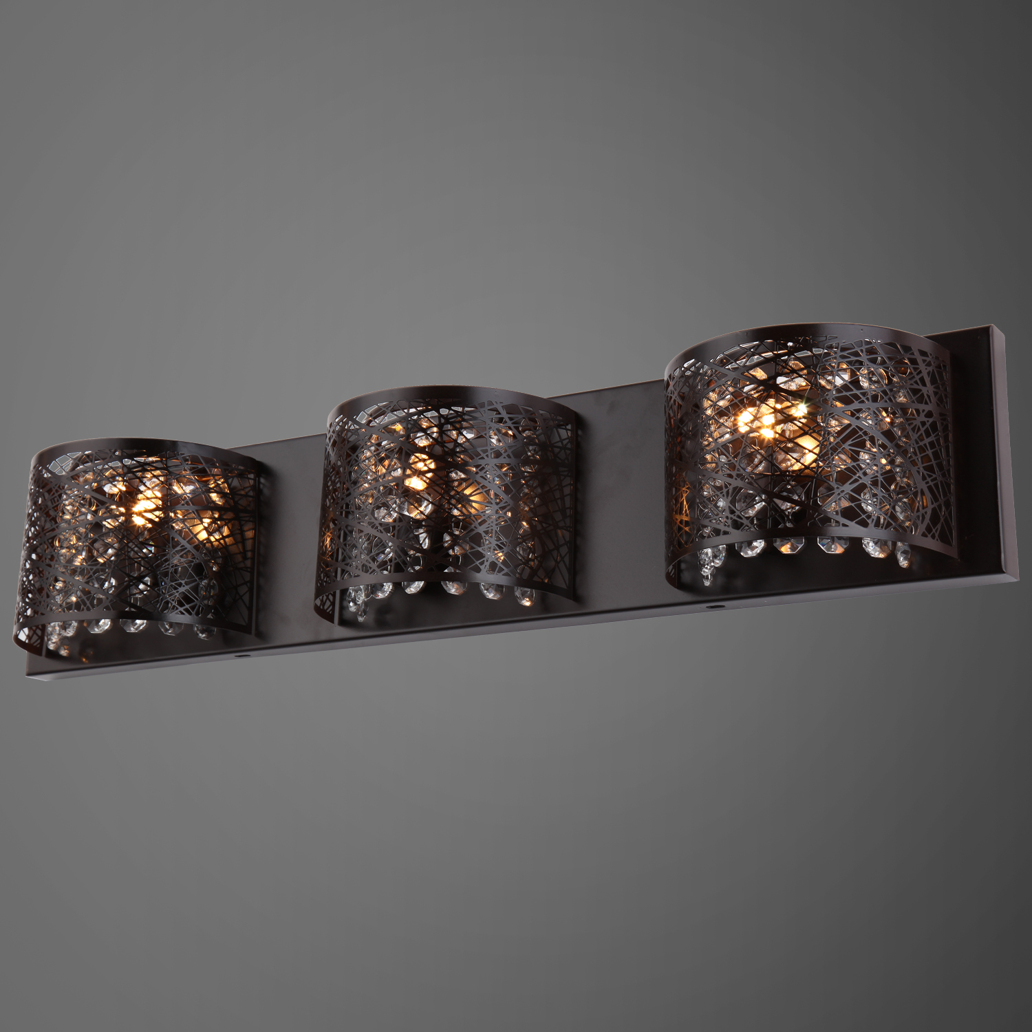 Replacement Light Shades For Wall Lights : Joshua Marshal 700856-001 Lazer 3 Light Bronze Sconce with Clear European Crystal From Lazer ...