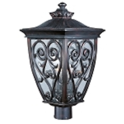 "Newbury 3-Light 22"" Oriental Bronze Outdoor Post/Pole Lantern with Seeded Glass 40120CDOB"