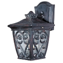 "Newbury 1-Light 9"" Oriental Bronze Outdoor Wall Lantern with Seeded Glass 40122CDOB"