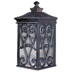 "Newbury 1-Light 12.5"" Oriental Bronze Outdoor Wall Lantern with Seeded Glass 40126CDOB"
