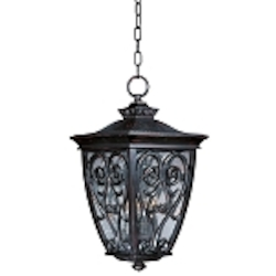 "Newbury 3-Light 20"" Oriental Bronze Outdoor Hanging Lantern with Seeded Glass 40128CDOB"