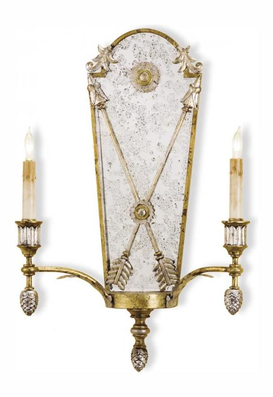 Currey Gold Leaf/Vintage Silver Leaf Napoli Wall Sconce with Customizable Shades Gold Leaf ...