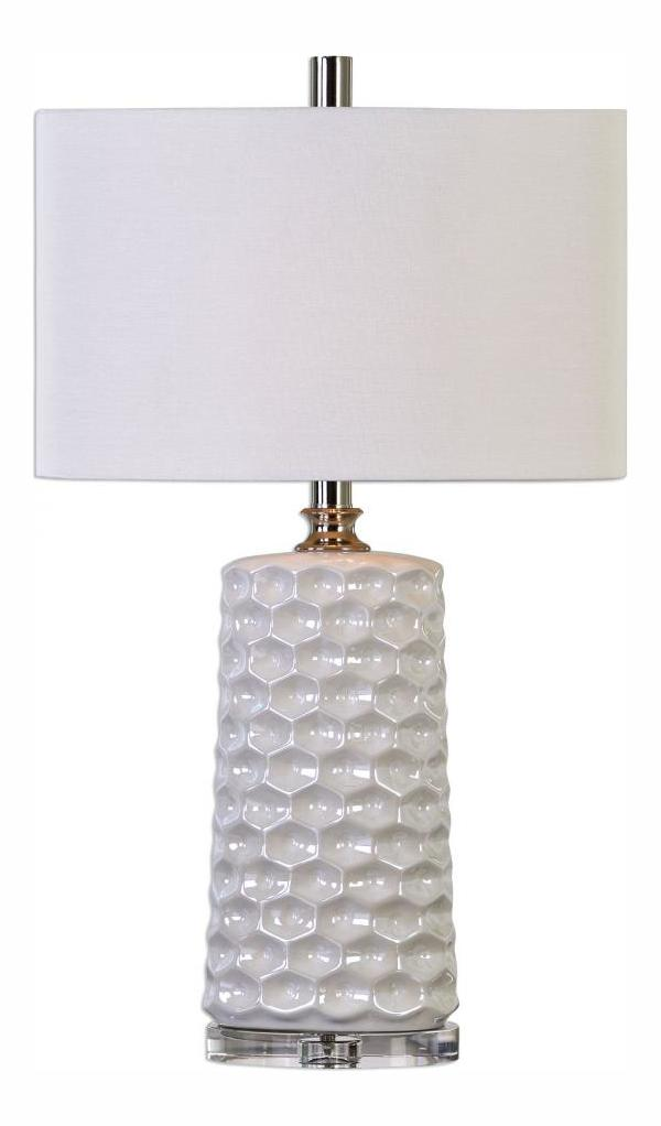 Uttermost Sesia White Honeycomb Table Lamp Gloss White