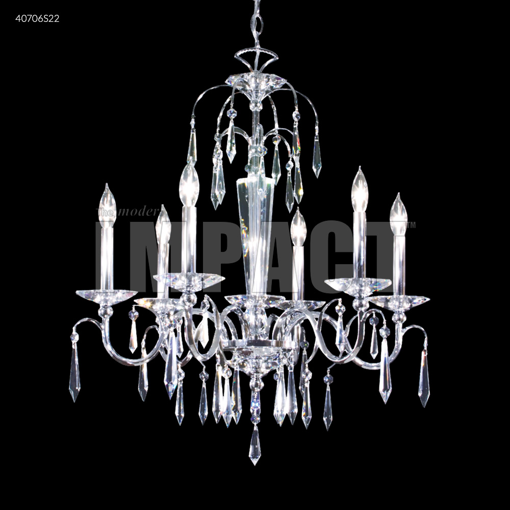 Modern Arm Chandelier: James R Moder Contemporary 6 Arm Chandelier Silver