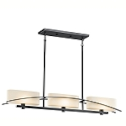 "Suspension Collection 3-Light 41"" Black Island Light with Satin-Etched Cased Opal Glass 42017BK"