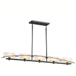 "Suspension Collection 5-Light 50"" Black Island Light with Satin-Etched Cased Opal Glass 42018BK"