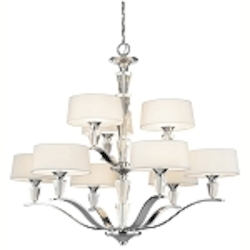 "Crystal Persuasion Collection 9-Light 37"" Chrome Chandelier with White Fabric Shade 42031-CH"