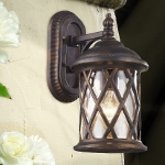 "Barrington Gate Collection 1-Light 13"" Hazelnut Bronze Outdoor Wall Lantern with Designer Water Glass 42035/1"