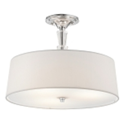 "Crystal Persuasion Collection 3-Light 15"" Chrome Semi-Flush with White Fabric Shade 42035-CH"