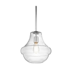 "Everly Collection 1-Light 12"" Chrome Pendant with Clear Glass 42044CH"