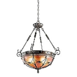 "Marchesa Collection 25"" 3-Light Inverted Pendant with a Terrene Bronze Finish and Piastra Glass - 42229TRZ"
