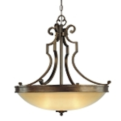 "Atterbury Collection 3-Light 25"" Deep Flax Bronze Pendant with Venata De oro glass 4233-288"