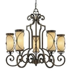 "Atterbury Collection 5-Light 28"" Deep Flax Bronze Chandelier with Venata De oro glass 4235-288"