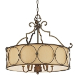 "Atterbury Collection 5-Light 25"" Deep Flax Bronze Chandelier with Venata De oro glass 4236-288"