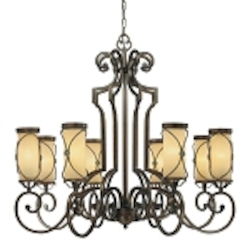 "Atterbury Collection 8-Light 36"" Deep Flax Bronze Chandelier with Venata De oro glass 4238-288"