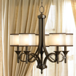 "Lacey Collection 5-Light 25"" Mission Bronze Chandelier with Satin-Etched Inner Diffusers and Light Umber Translucent Organza Outer Shades 42381MIZ"