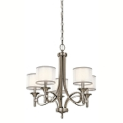 "Lacey Collection 5-Light 25"" Antique Pewter Chandelier with Satin-Etched Cased Opal Inner Diffusers and White Translucent Organza Outer Shades 42381AP"
