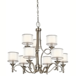 "Lacey Collection 9-Light 34"" Antique Pewter Chandelier with Satin-Etched Cased Opal Inner Diffusers and White Translucent Organza Outer Shades 42382AP"