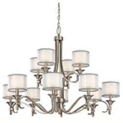 "Lacey Collection 12-Light 42"" Antique Pewter Chandelier with Satin-Etched Cased Opal Inner Diffusers and White Translucent Organza Outer Shades 42383AP"