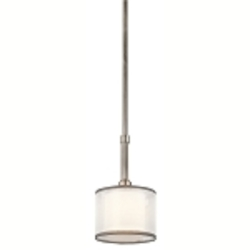 "Lacey Collection 1-Light 10"" Antique Pewter Mini Pendant with Satin-Etched Cased Opal Inner Diffuser and White Translucent Organza Outer Shade 42384AP"