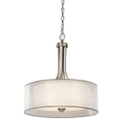 "Lacey Collection 3-Light 20"" Antique Pewter Pendant with Organza Drum Shade 42385AP"