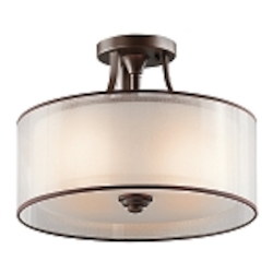 "Lacey 3-Light 15"" Mission Bronze Semi-Flush with Satin-Etched Inner Diffuser and Light Umber Organza Outer Shade 42386MIZ"