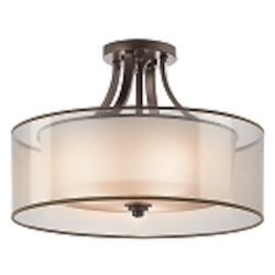 "Lacey Collection 4-Light 20"" Mission Bronze Semi-Flush with Satin-Etched Inner Diffusers and Light Umber Translucent Organza Outer Shades 42387MIZ"