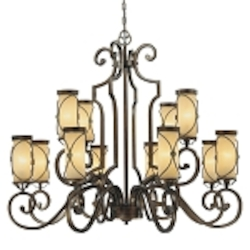 "Atterbury Collection 12-Light 42"" Deep Flax Bronze Chandelier with Venata De oro glass 4239-288"