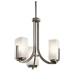 "Leeds Collection 3-Light 18"" Shadow Bronze Finish Mini Chandelier 42425 SWZ"