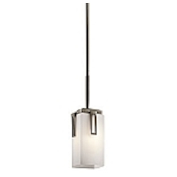 "Leeds Collection 1-Light 14"" Shadow Bronze Mini Pendant with Satin-Etched Opal Glass 42432SWZ"