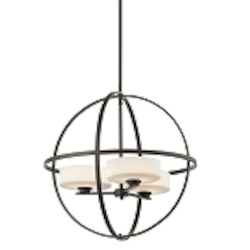 "Olsay Collection 3-Light 22"" Olde Bronze Pendant Chandelier with Satin-Etched Cased Opal Glass 42505OZ"