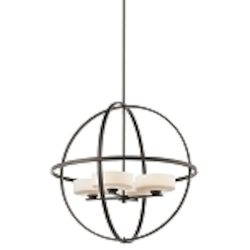 Olsay Collection 4-Light 28 Olde Bronze Pendant Chandelier with Satin-Etched Cased Opal Glass 42506OZ
