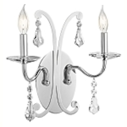 "Leanora Collection 2-Light 15"" Chrome Wall Sconce with Clear Crystals 42543-CH"