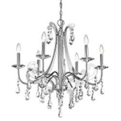"Leanora Collection 6-Light 28"" Chrome Chandelier with Clear Crystals 42545-CH"