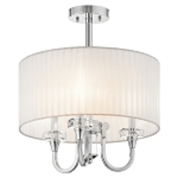 "Parker Point Collection 3-Light 17"" Chrome Convertible Stem Mounted Pendant with Organza Wrapped Fabric Shade and K9 Optical Crystal Accents 42630CH"