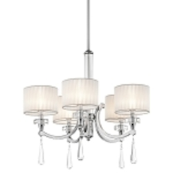 "Parker Point Collection 5-Light 26"" Chrome Chandelier with Organza Wrapped Fabric Shade and K9 Optical Crystal Accents 42631CH"