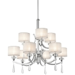 "Parker Point Collection 9-Light 36"" Chrome Chandelier with Organza Wrapped Fabric Shade and K9 Optical Crystal Accents 42633CH"