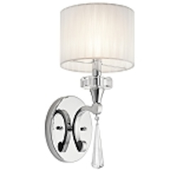 "Parker Point Collection 1-Light 15"" Chrome Wall Sconce with Organza Shade and Crystal Accents 42634CH"
